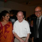 Curator Jaishri Abichandani, Holland Cotter of the NY Times, and QMA Director Tom Finkelpearl